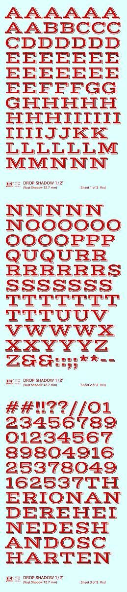 Decals 165989 K4 G Decals Red 1 2 Inch Drop Shadow Letter Number Alphabet Set Buy It Now Only 10 85 On Ebay Lettering Drop Shadow Decal Sheets