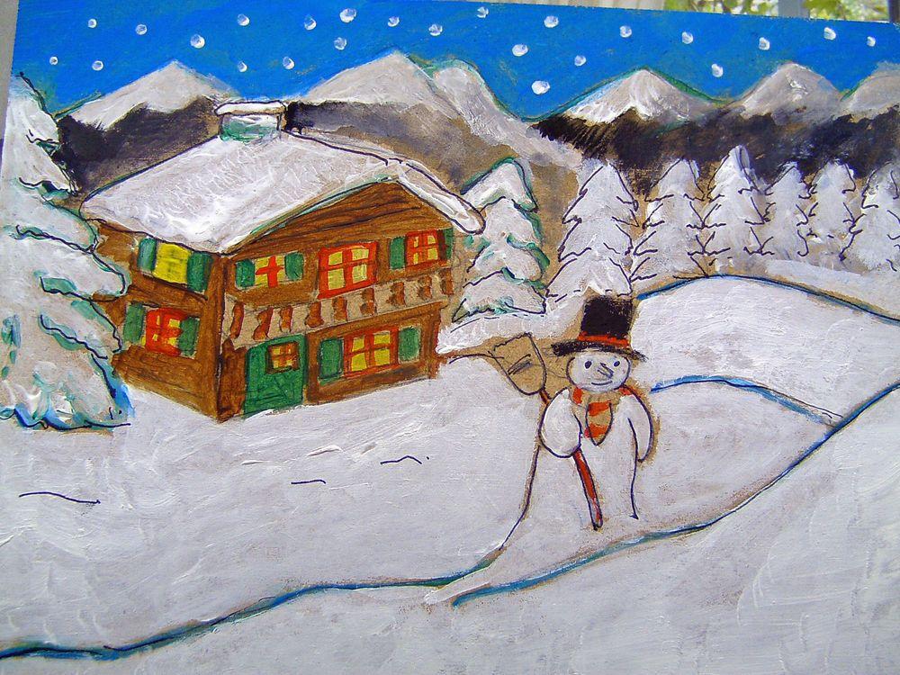 tableau paysage de neige snow landscape cotation drouot. Black Bedroom Furniture Sets. Home Design Ideas