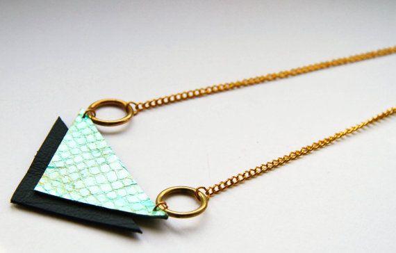 Zuse: Metallic Snakeskin Effect Leather Statement Necklace Geometric