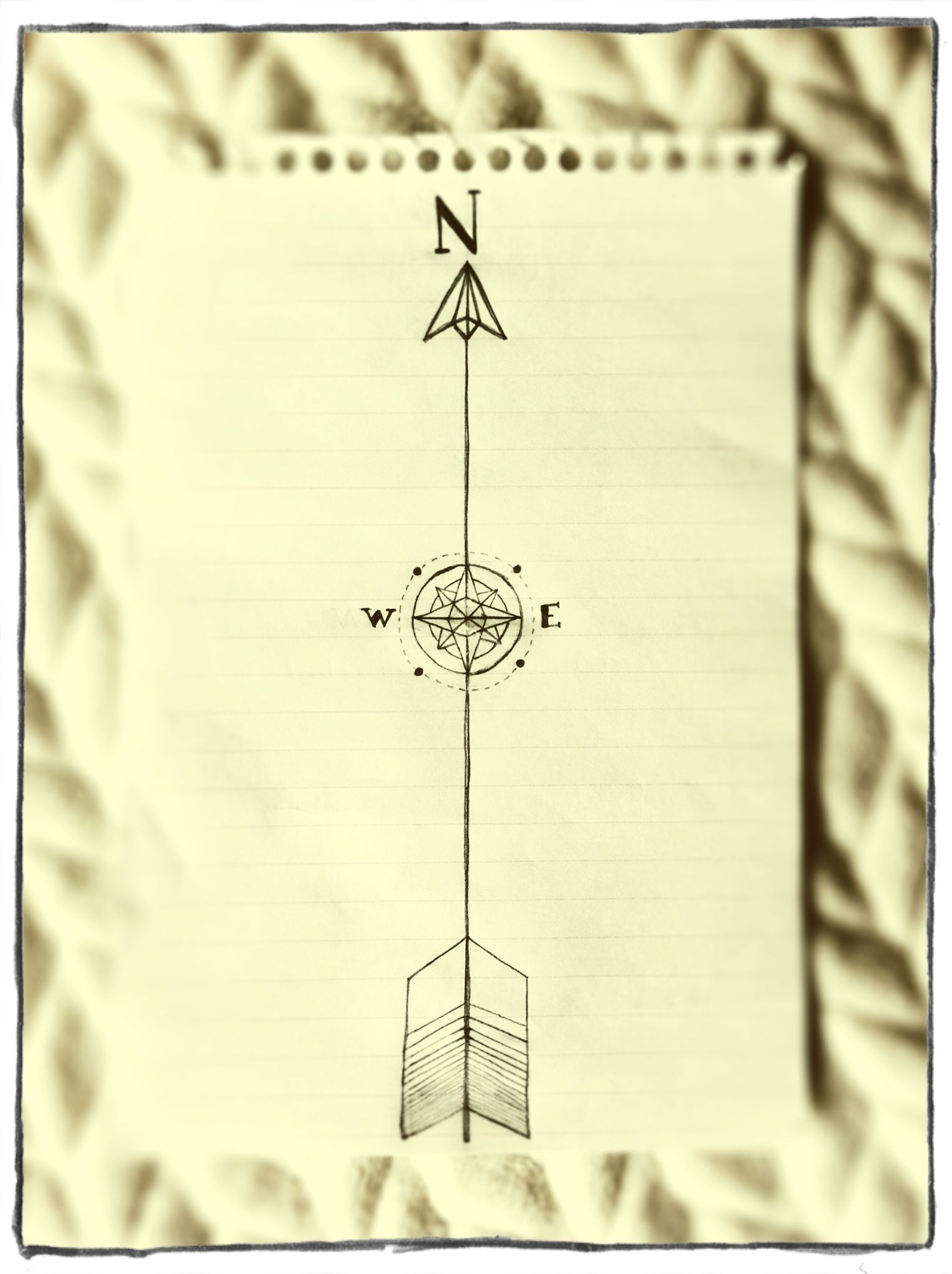 Compass Pointing East Tattoo Rough sketch of an arr...