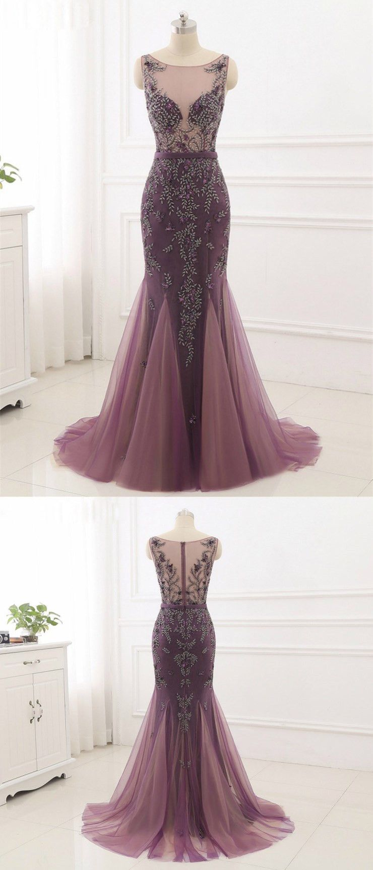 Mermaid scoopneck sweep train tulle dusty rose prom dresses with