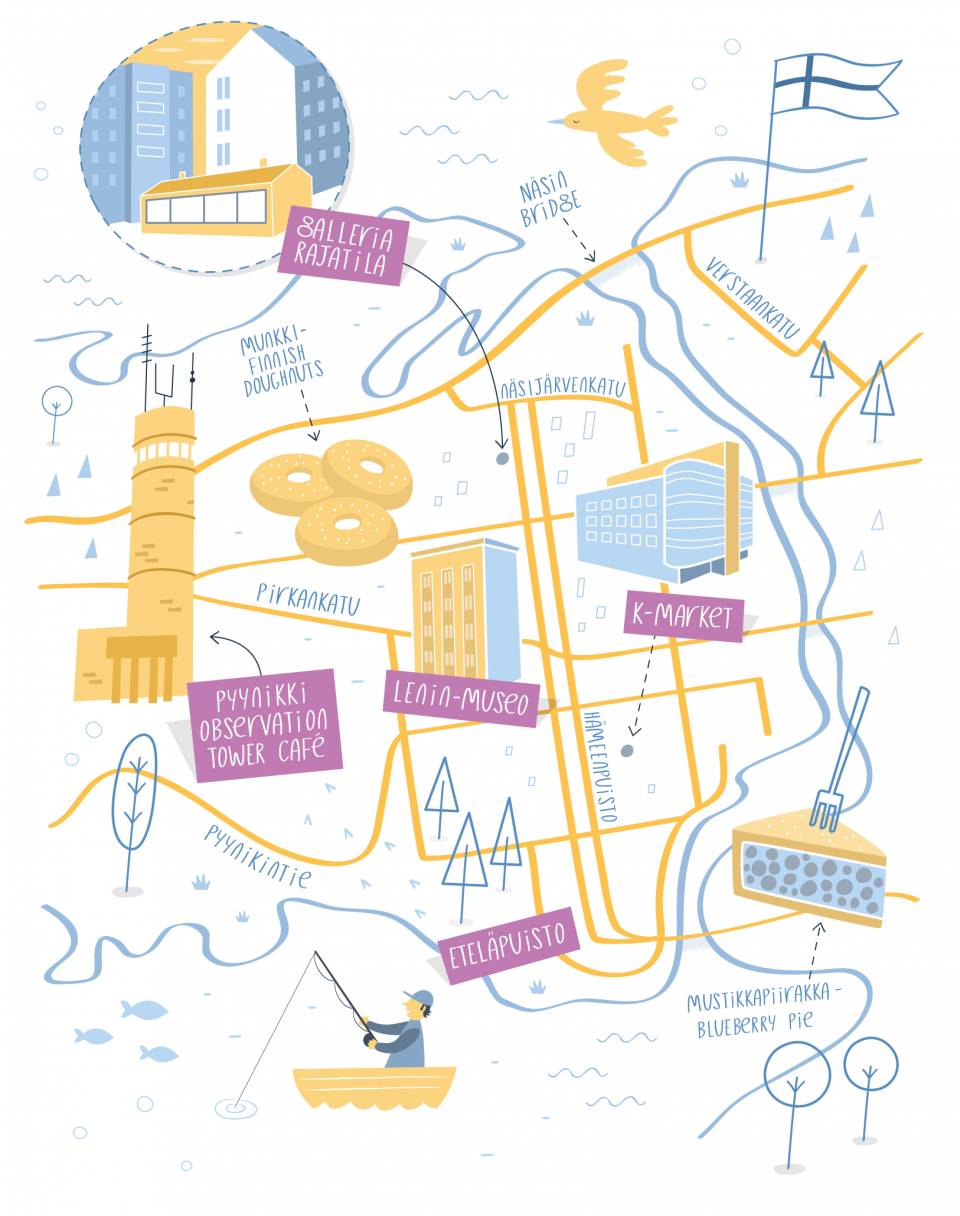 Illustrated map of Tampere Finland mapa Pinterest Illustrated
