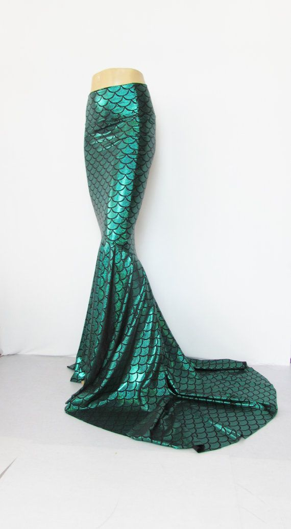 Green Mermaid skirt stretch Fabric Fish scale Pageants Festival EDC EDM