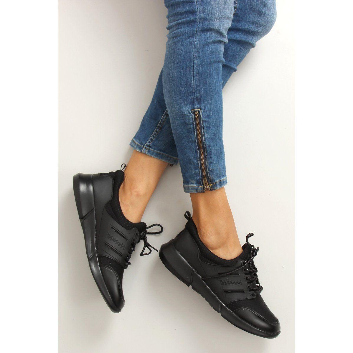 Lekkie Buty Sportowe B3120b Sp Black Czarne Bow Sneakers Shoes Black Sneaker