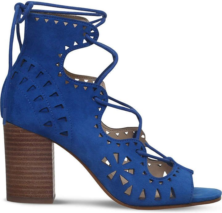 Discount Nine West Blue Gweniah Suede Sandals for Women Online