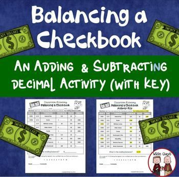 Free Balancing A Checkbook Activity Your Upper Elementary 4th 5th And 6th Grade Classroom Or Home Scho Classroom Economy Basic Math Skills Education Skills
