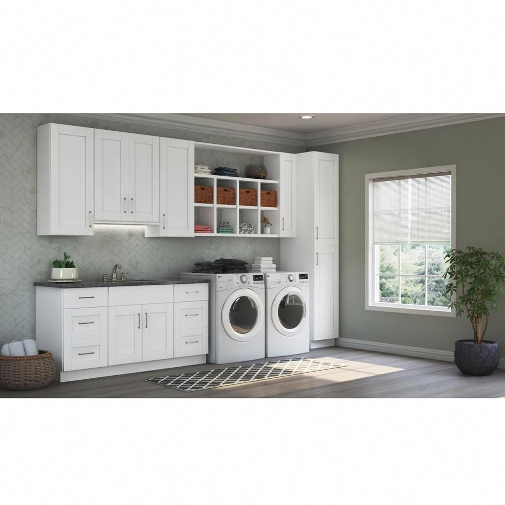 Hampton Bay Shaker Ready To Install 64x30x12 In Laundry Room Kit With Assembled Wall Kitchen Cabinets In Satin White Kkitldy64 Ssw Assembled Kitchen Cabinets Add A Bathroom Laundry Room