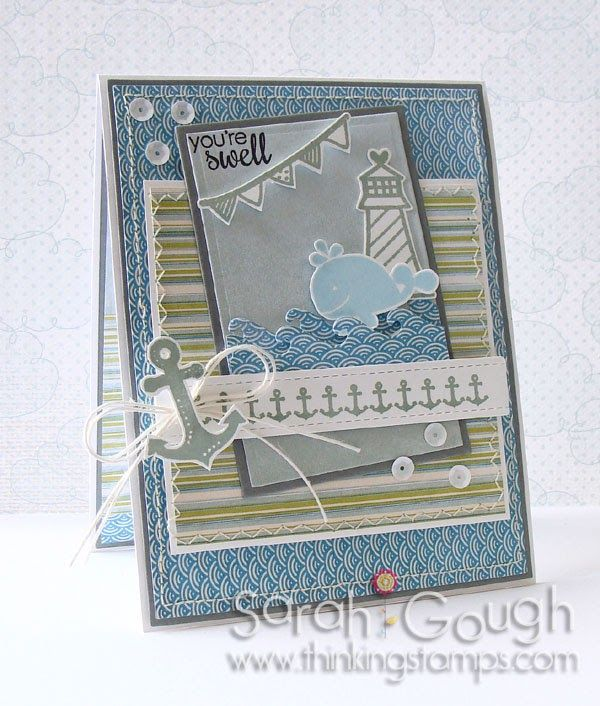 Using Happy Harbor by Reverse Confetti, Down by the Shore by Fancy Pants, Quiet Morning inks by Hero Arts, White Hemp and White Sequins all from IHP!  Sarah Gough www.thinkingstamps.com