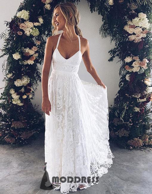 Lace Long Prom Dress White V-Neck Evening Dress Halter A-Line Formal ...