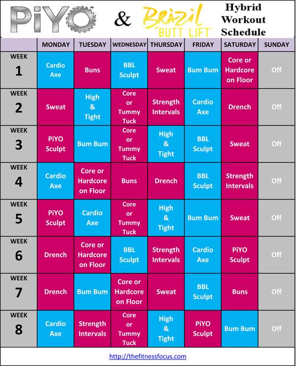 Plyometric Workout Challenge: PiYo Hybrid Workout Schedules And Calendar Downloads