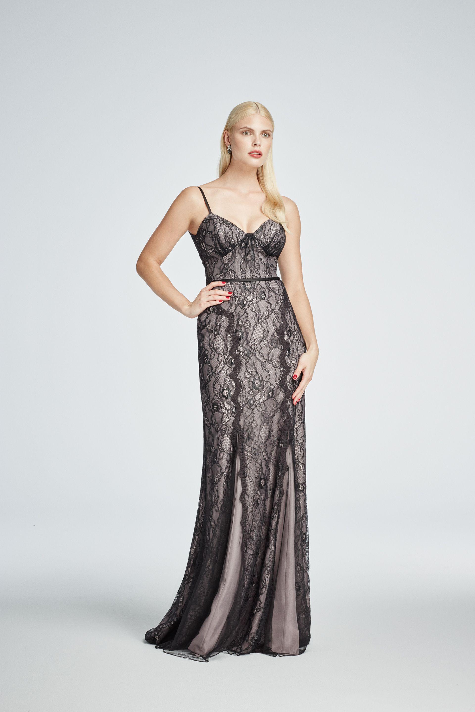 The Perfect Black Tie Occasion Dress Truly Zac Posen Long All Over Lace Spaghetti Strap