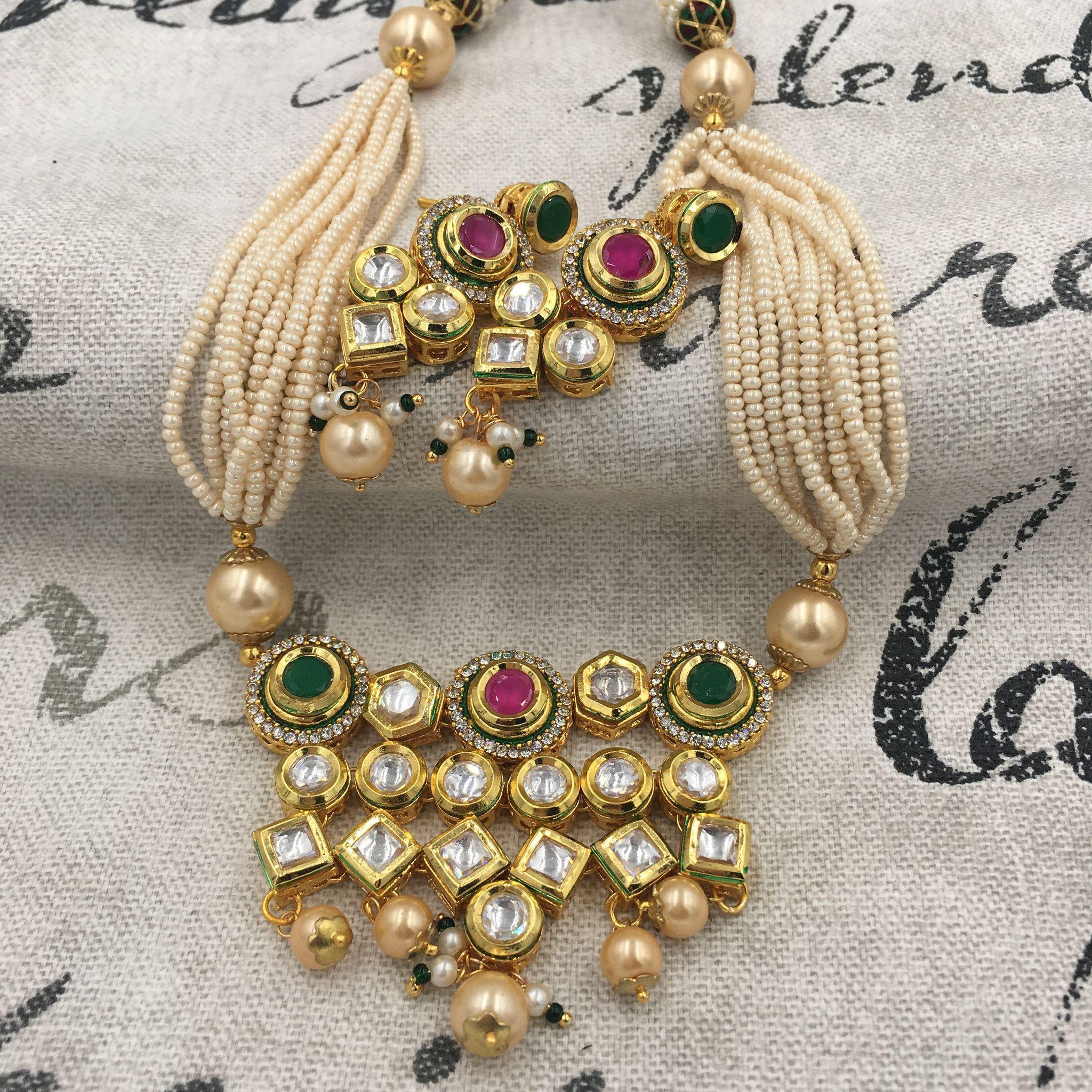 Kundan moti mala with white kundan jewelry pinterest jewelry