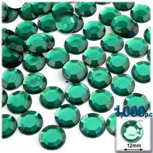 1000-pc Acrylic Flatback Rhinestones 12mm Emerald Green