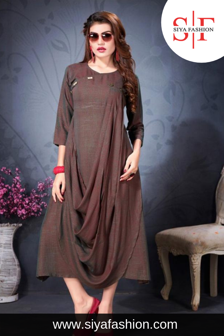 98b0d7063 Siya  Fashion  Partywear  Designer Brown  Rayon Fancy  Kurti. Fabric ...