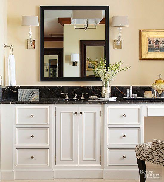 Bathroom Countertop Ideas | Black marble bathroom, Black ... on Bathroom Ideas With Black Granite Countertops  id=17090