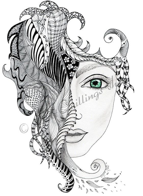 Original zentangle art chica print a4 a3 size wall art for Fine art coloring pages