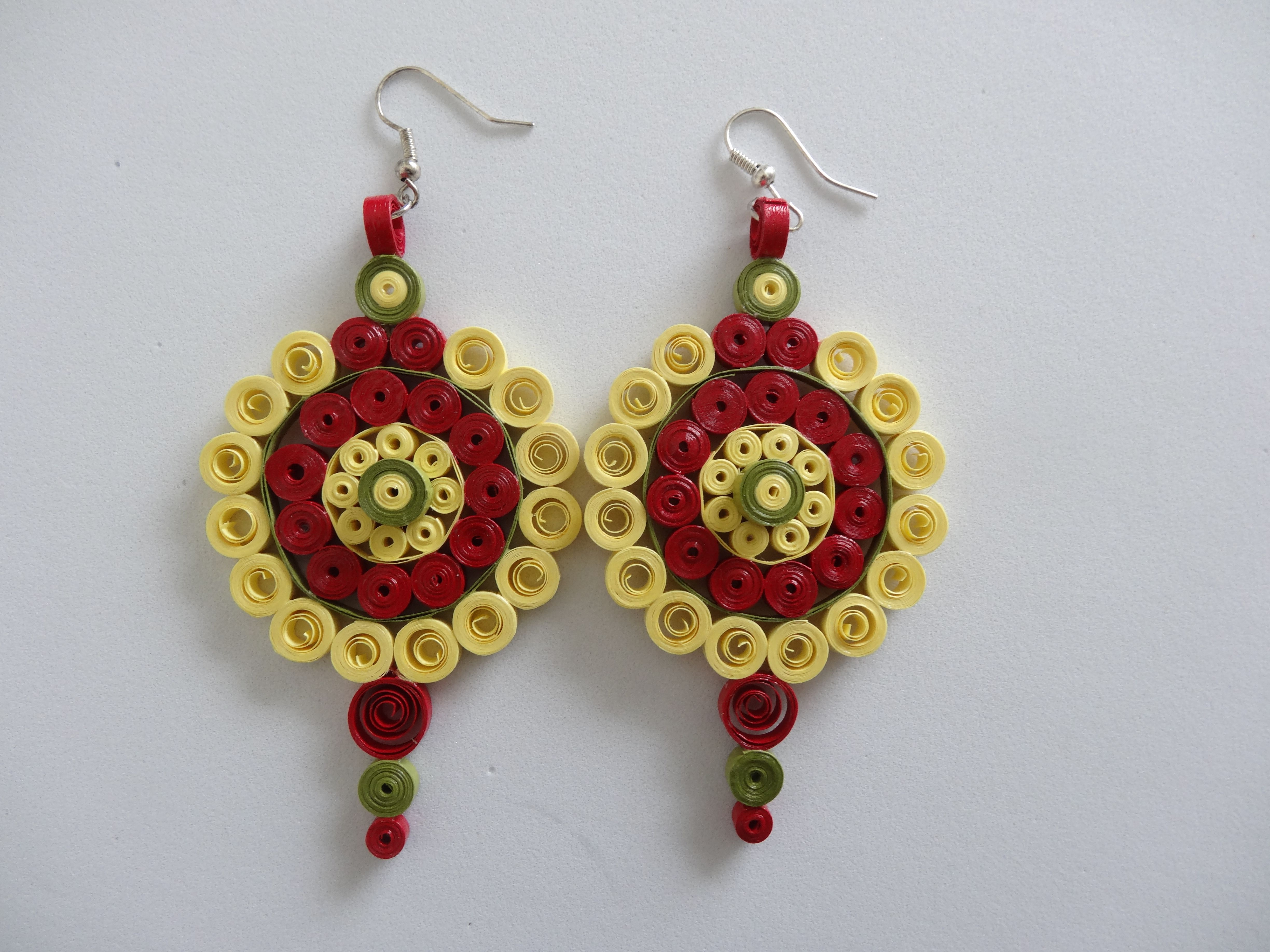 Yellow paper quilled earrings quilling jewelry and key chains