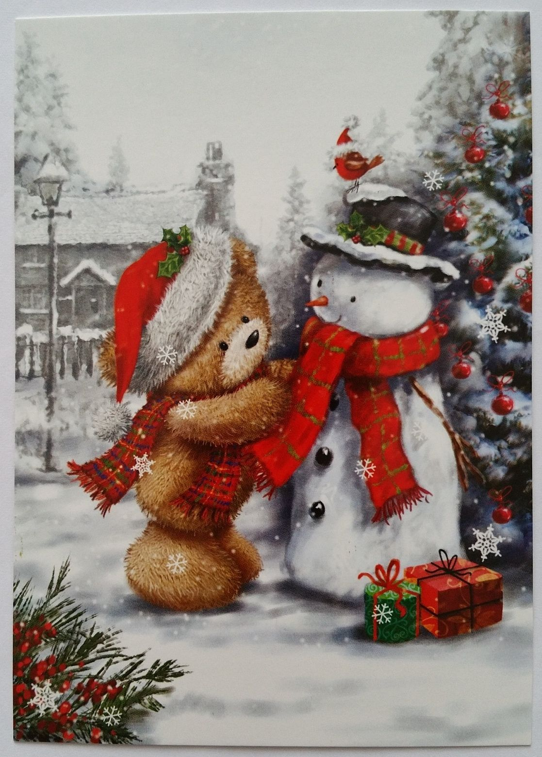 New Christmas New Year Postcard w Snowman Bear Bird Fir