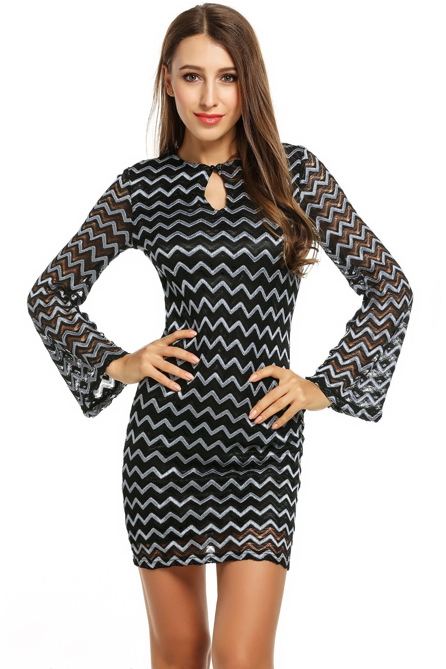Long sleeve cut out wave cocktail bodycon going out dress party