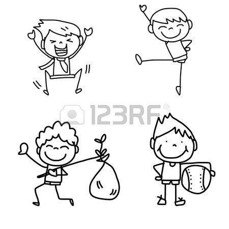 Disegno A Mano Cartoon Bambini Felici Che Giocano Nataliiiii How