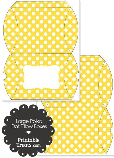 Large Yellow and White Polka Dot Pillow Box from PrintableTreats.com ...
