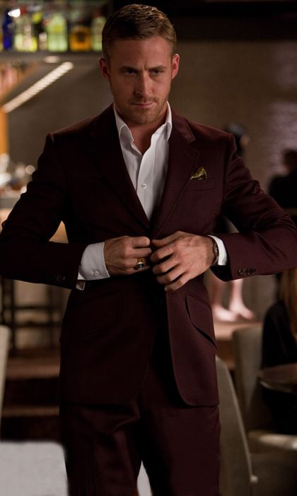 Burgundy Suit For The Evening Ryan Gosling Suit Ryan Gosling Style Ryan Gosling