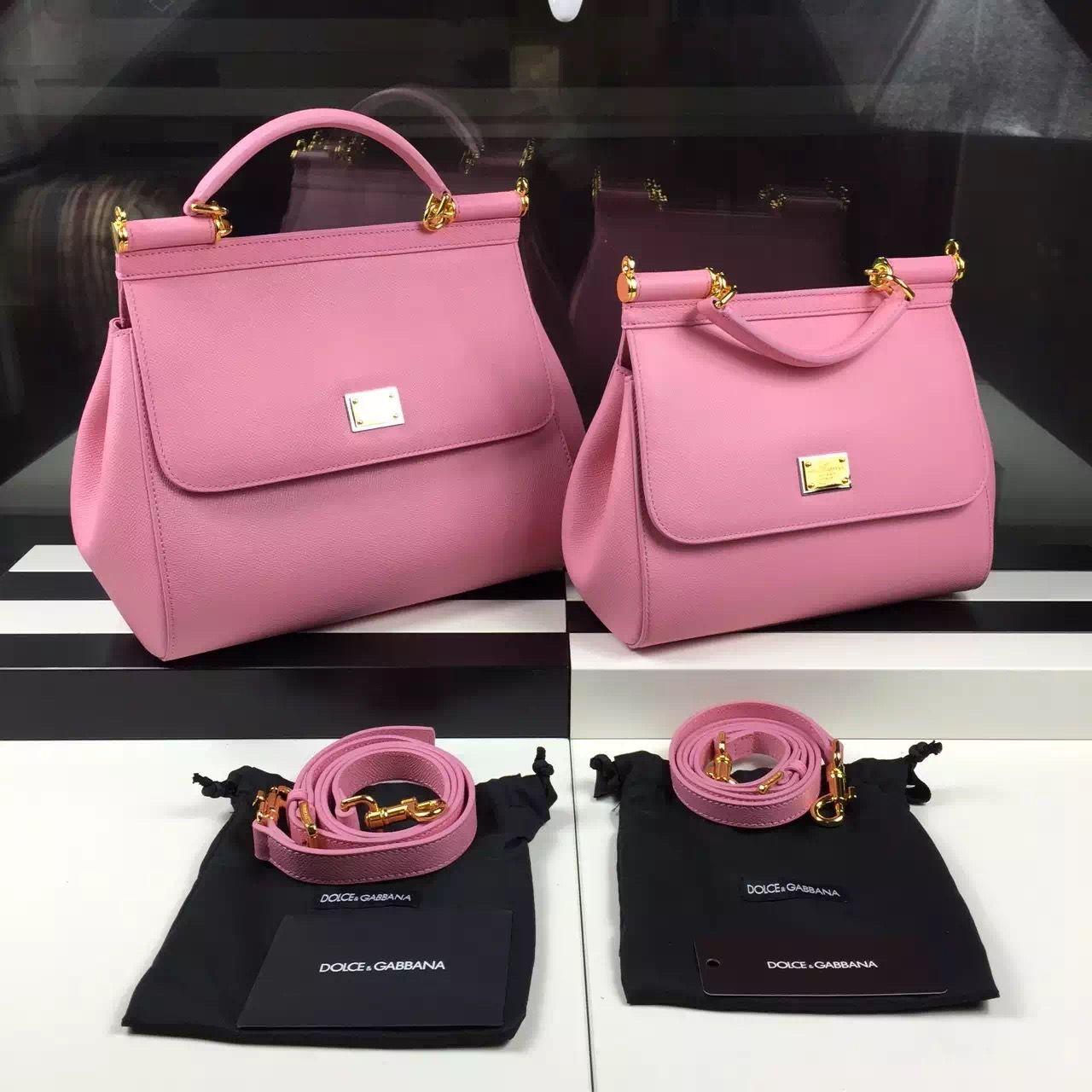 Dolce   Gabbana Small Medium Epsom Calfskin Sicily Bag Pink   Dolce ... 9de3bf7034
