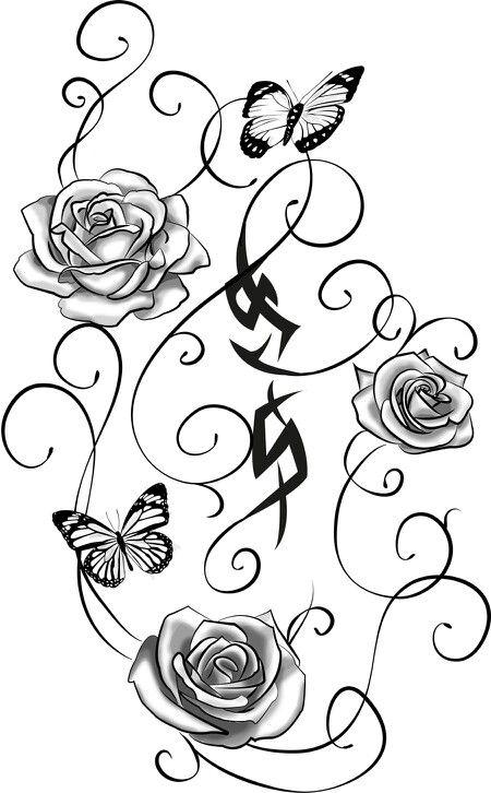 Dessin fleur papillon tatoo en 2018 pinterest dessin - Modele dessin fleur ...
