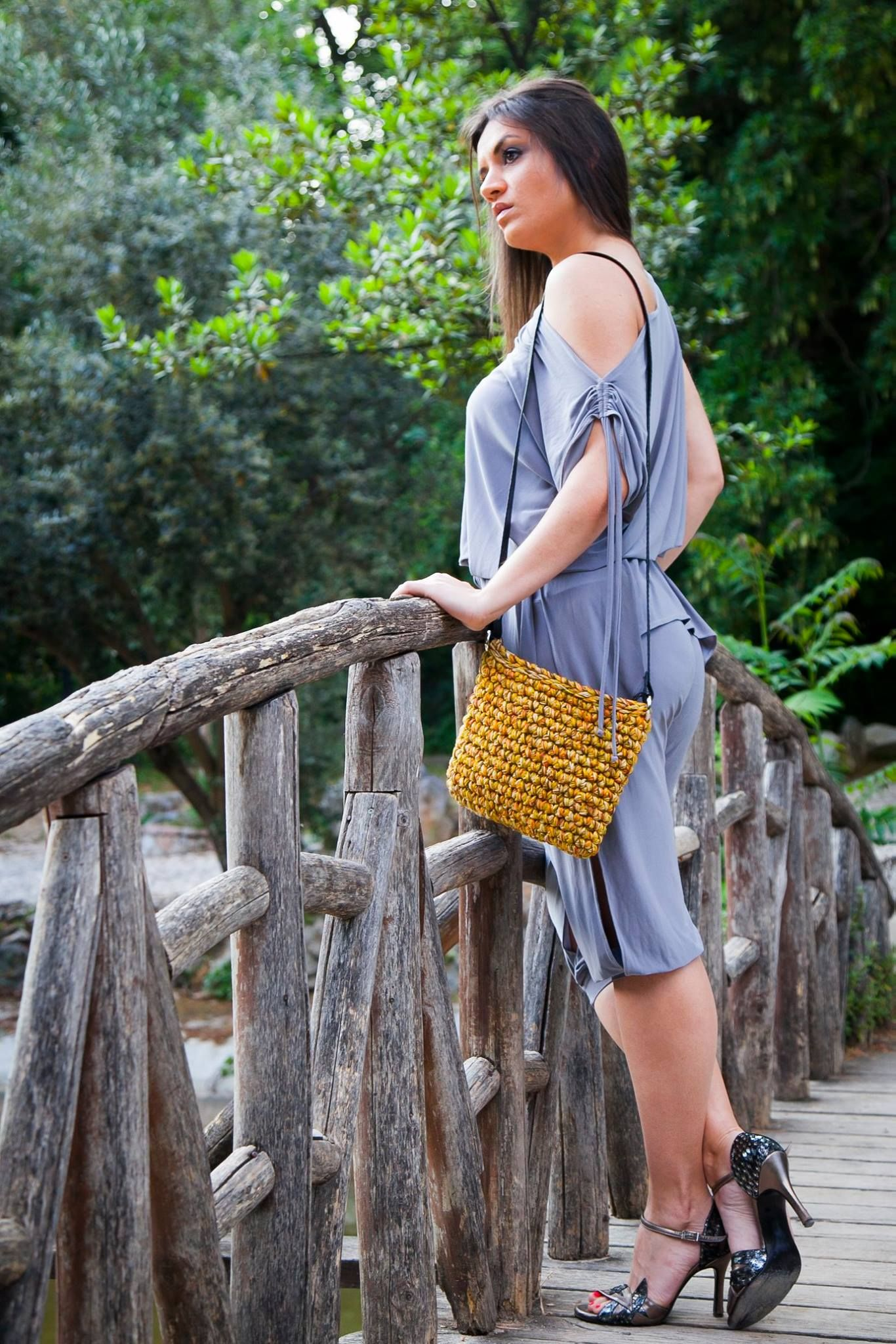 Handmade crocheted crossbody bag