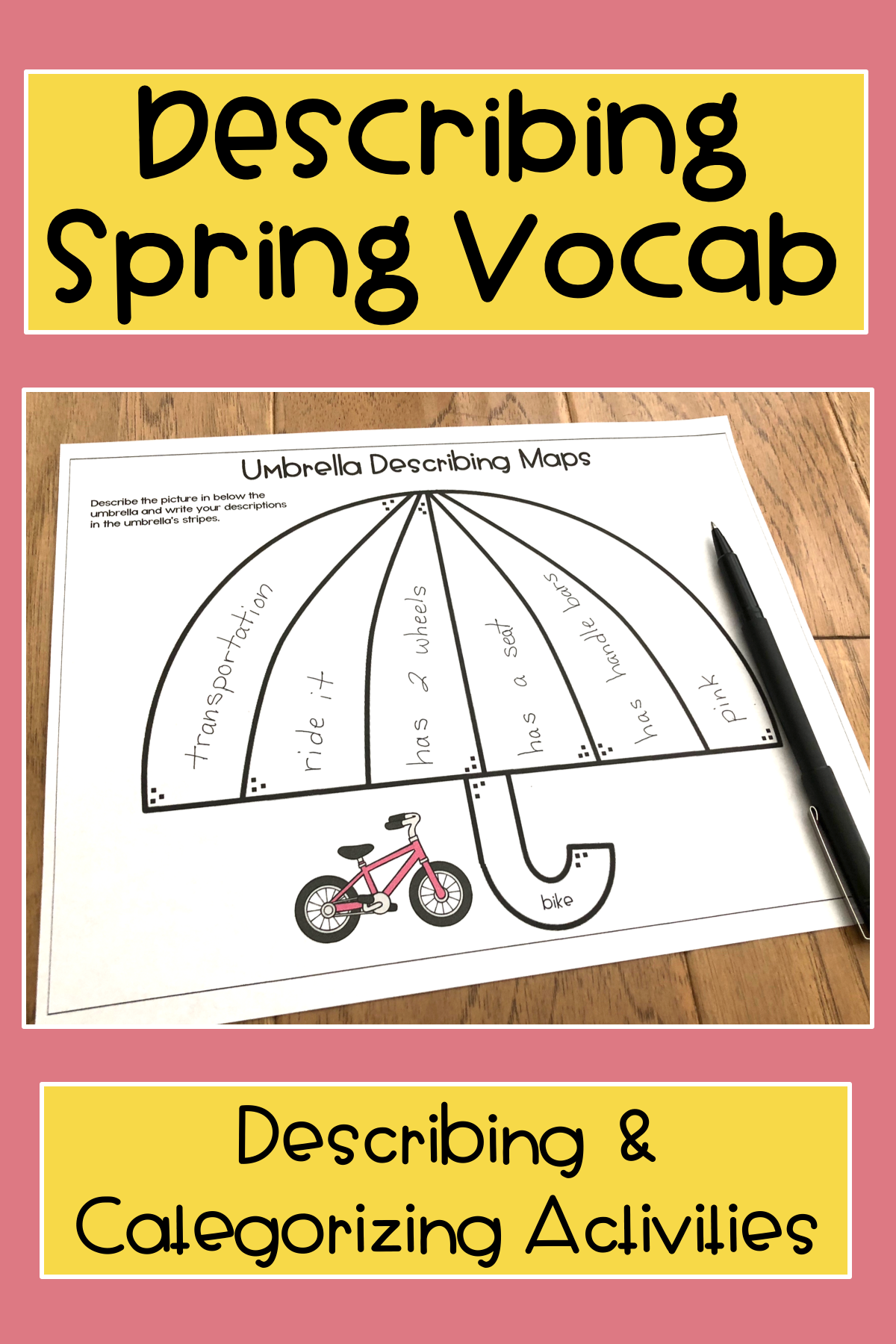 Spring Describing Vocabulary Graphic Organizer Worksheets