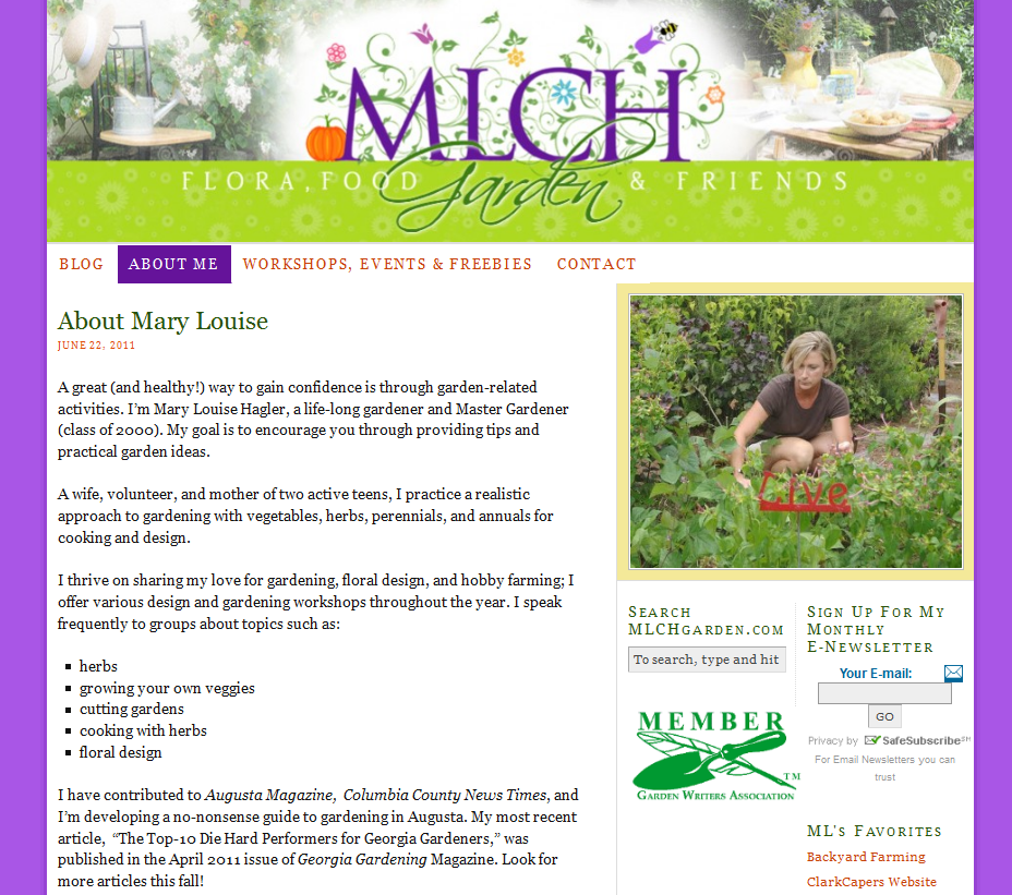 """http://www.mlchgarden.com/ - This site gives Georgia gardening expert, Mary Louise Hagler, a place to blog about """"flora, food, and friends"""" and promote her gardening events and workshops. Our team designed a bright, cheerful logo and header and customized a premium WordPress theme."""