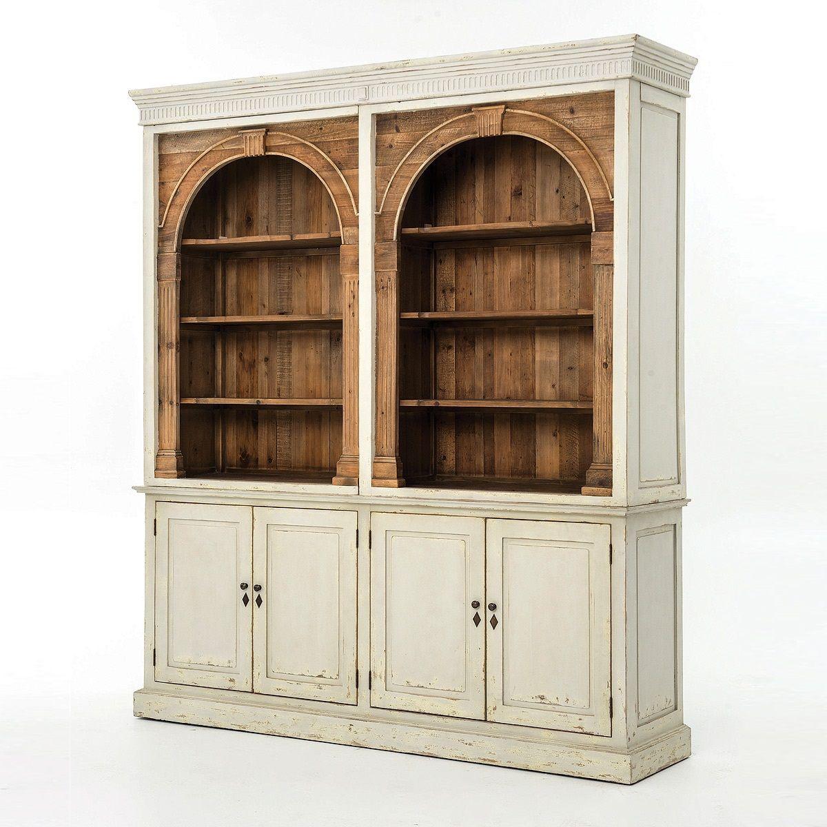 Swedish grey rustic reclaimed wood china cabinet hutch china