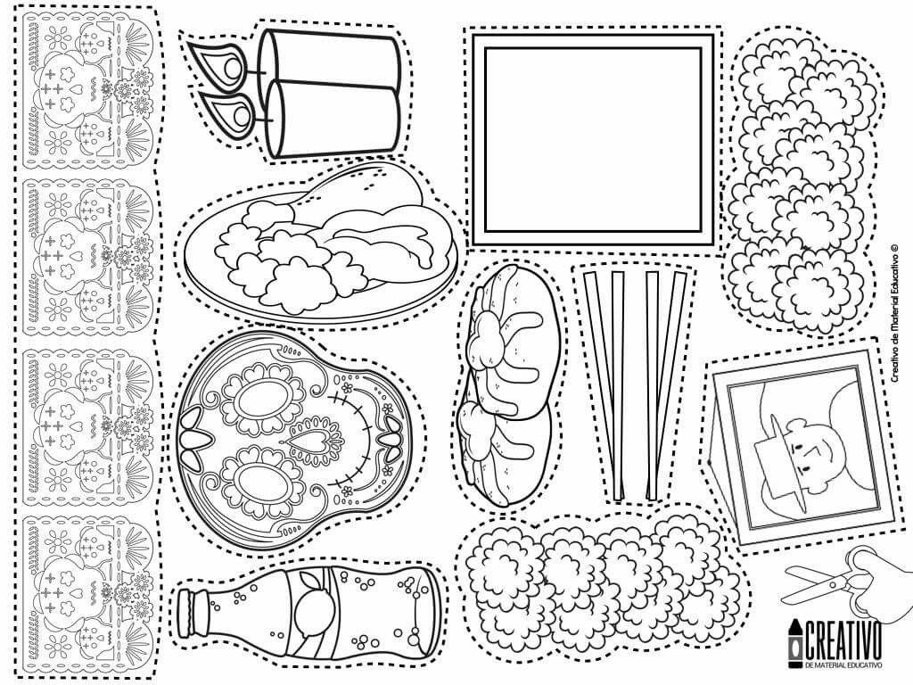 Dia De Los Fieles Difuntos Altar De Muertos Dibujo Mini Altar De Muertos Altares De Muertos