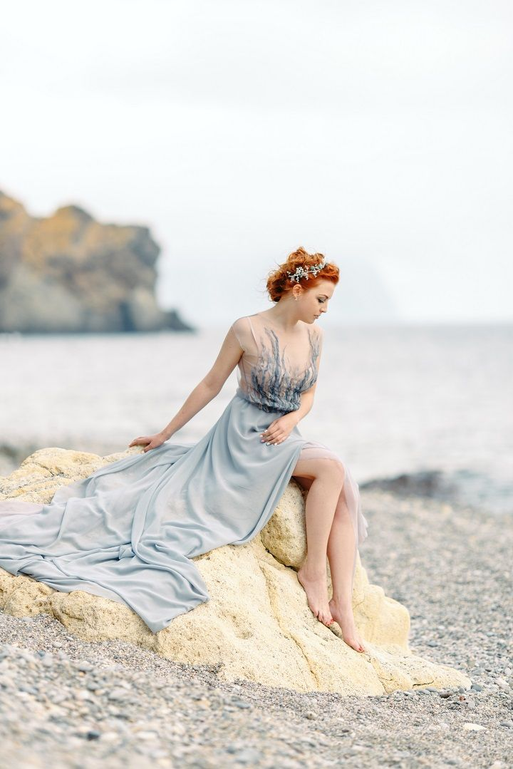 Misty blue and grey wedding dress | Colored wedding dress | fabmood.com #weddingdress #bride #beachwedding #beachweddingdress #greyweddingdress #weddinggown