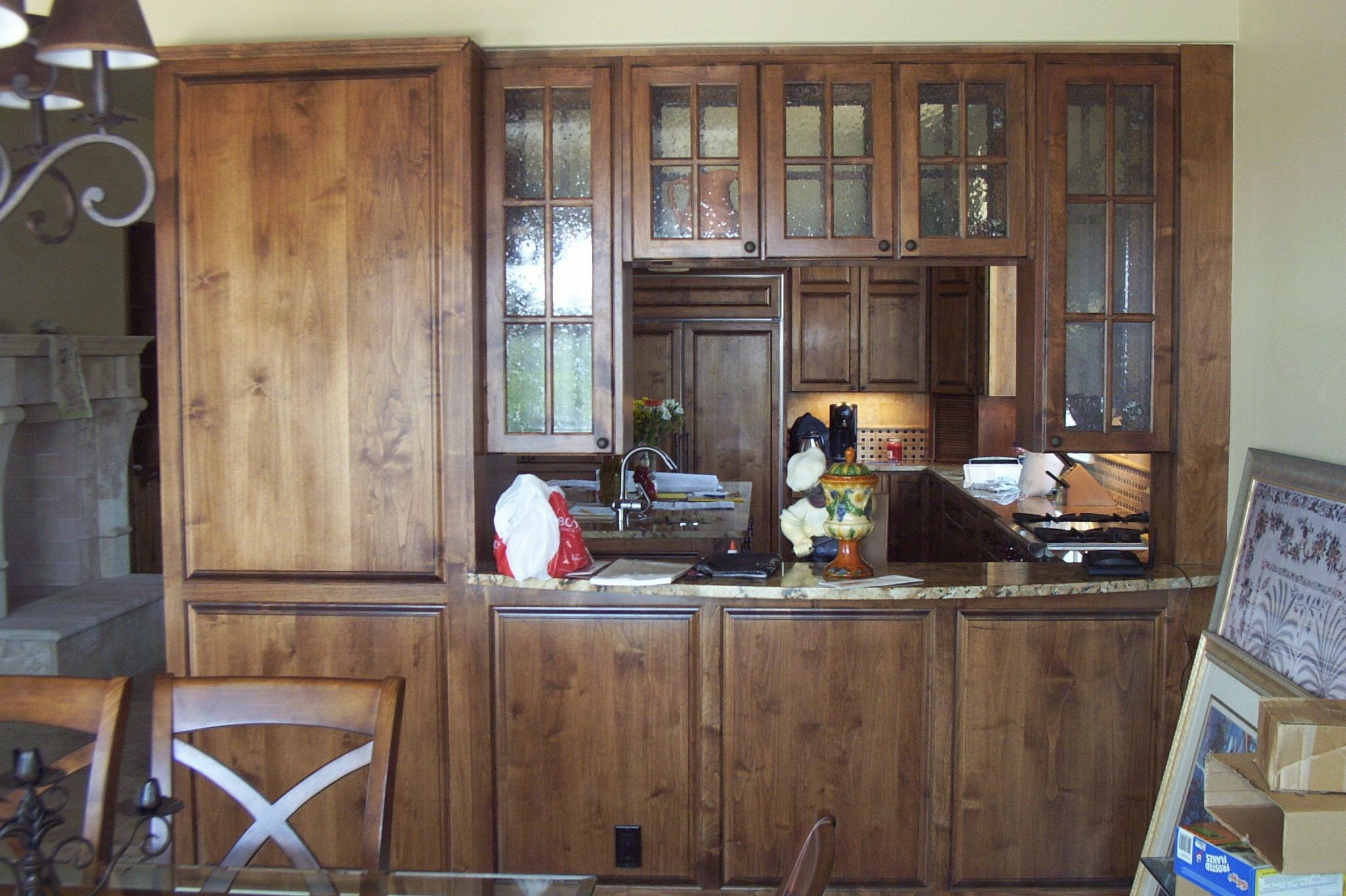 Alder Kitchen with Double Sided Glass Upper Cabinets ...
