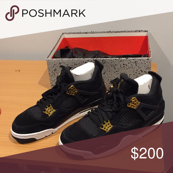 Jordan 4 royalty Black gold and white worn twice Shoes Sneakers