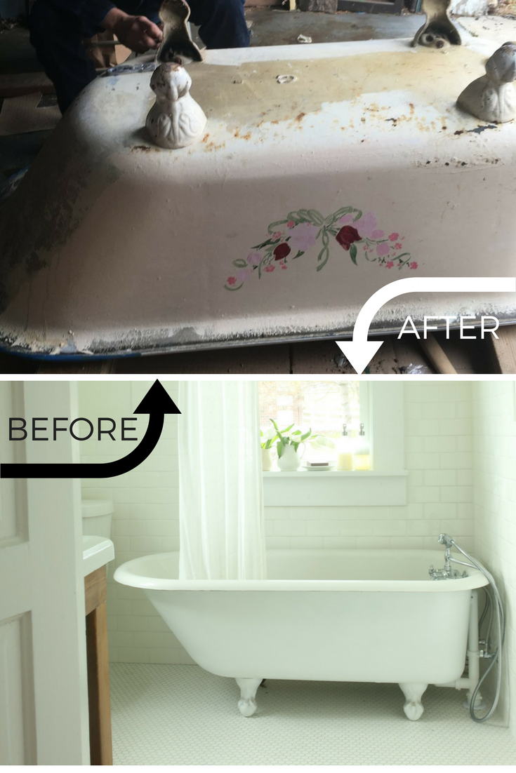 Refinishing a clawfoot tub before and after | Clawfoot tub, Home