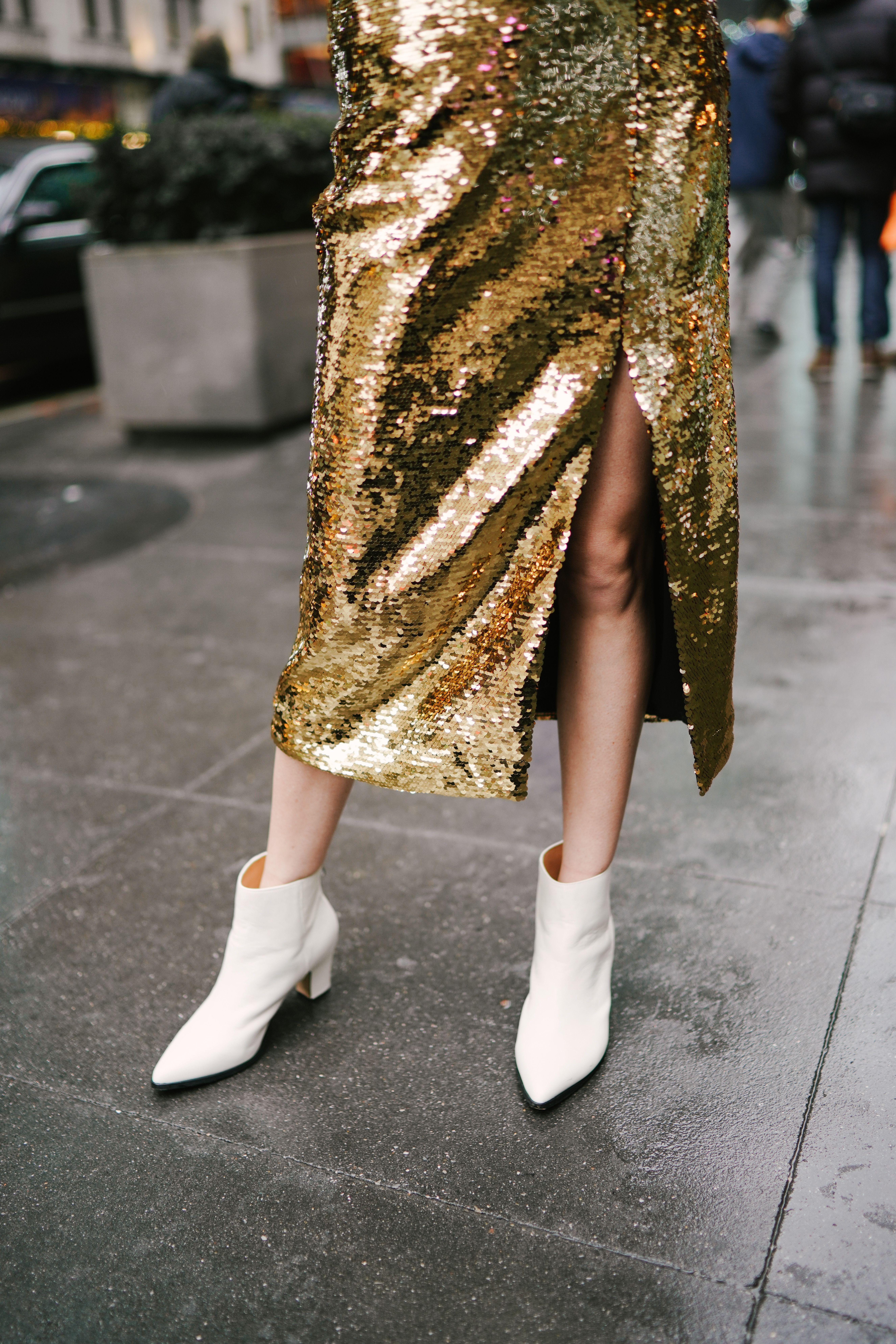 gold dress booties