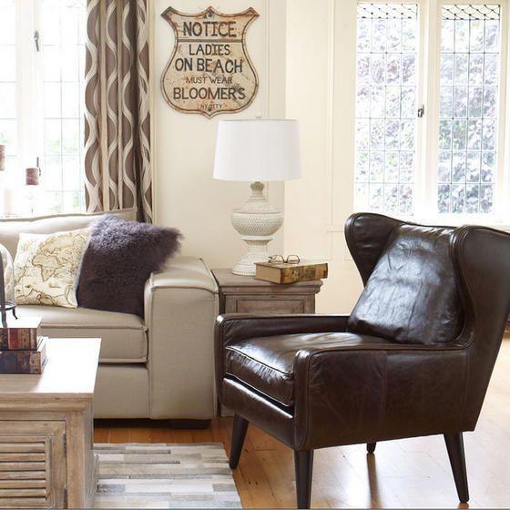 Urban Barn Bradley Leather Chair Vintage Brown The