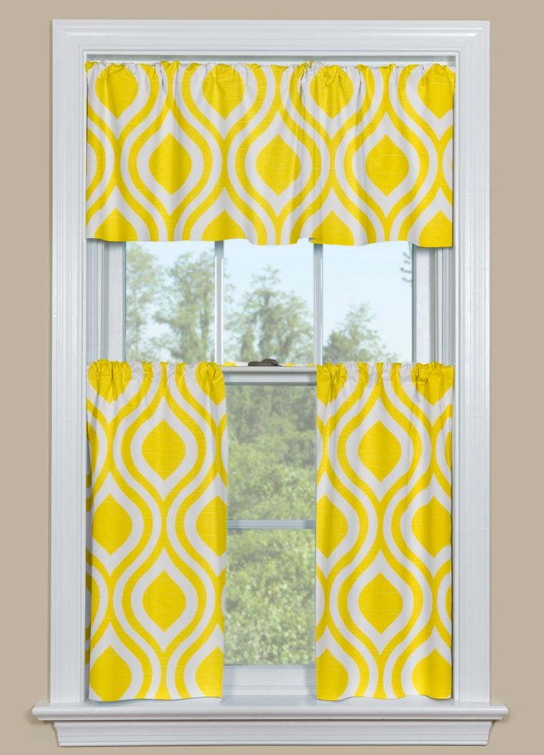 Kitchen Curtain Panels With Retro Ogee Pattern In Yellow With