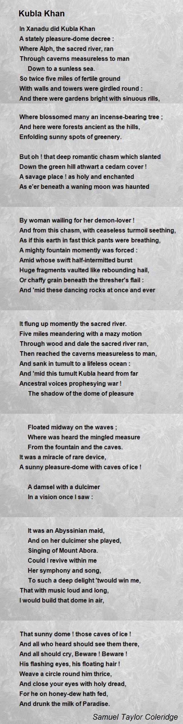 Kubla Khan Poem By Samuel Taylor Coleridge Hunter Theme
