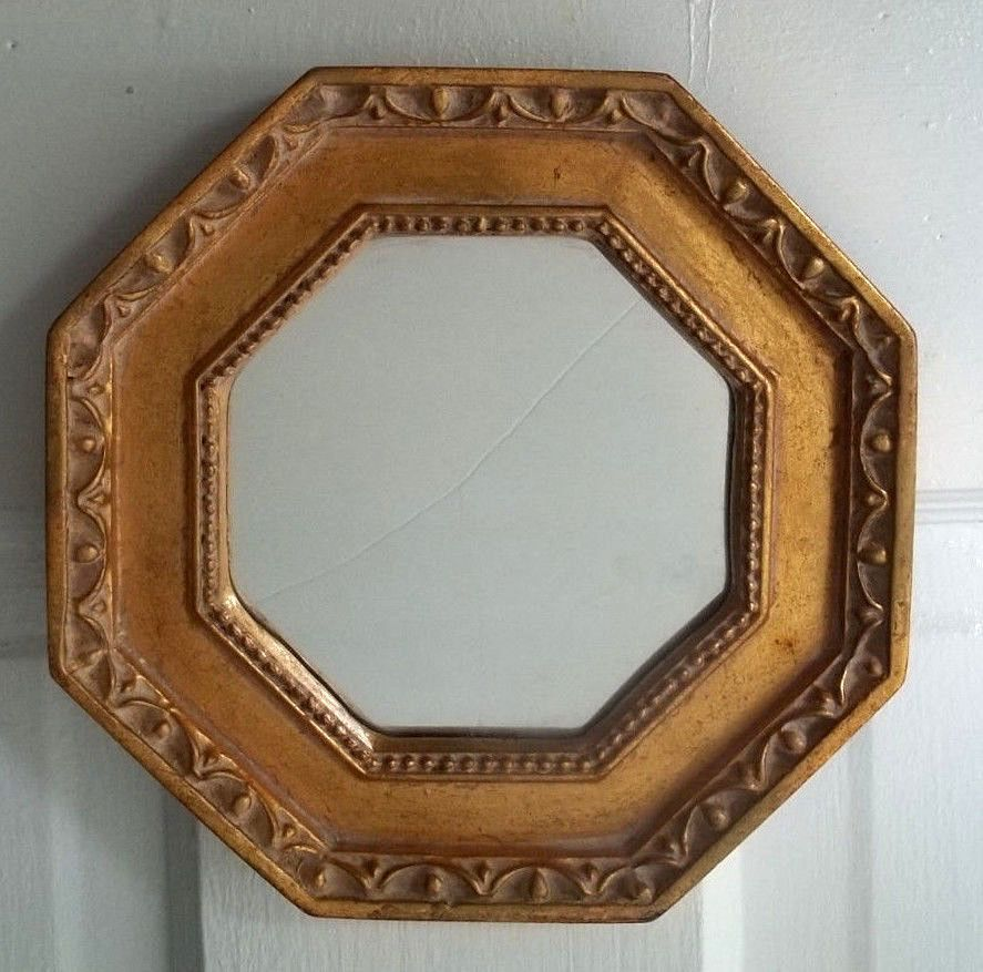 Mirror Picture frame octagon shape Gold Gilt ornate Italy? 7 1/4 ...