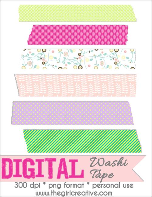 Free Digital Scrapbooking Embellishments Washi Tape The Girl Creative Free Digital Scrapbooking Washi Tape Projects Paper Crafts