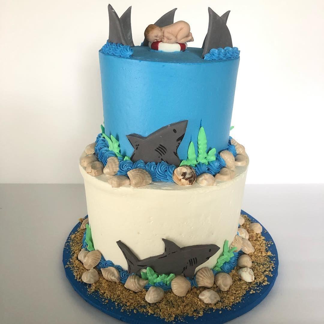 Buttercream cake shark theme with baby topper