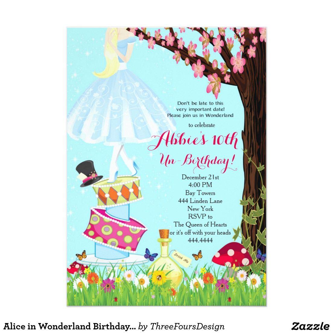 Alice In Wonderland Birthday Invitations Zazzle Com Alice In Wonderland Invitations Alice In Wonderland Birthday Mad Hatter Tea Party Invitations