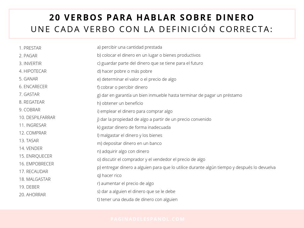 20 Verbos Para Hablar Sobre Dinero