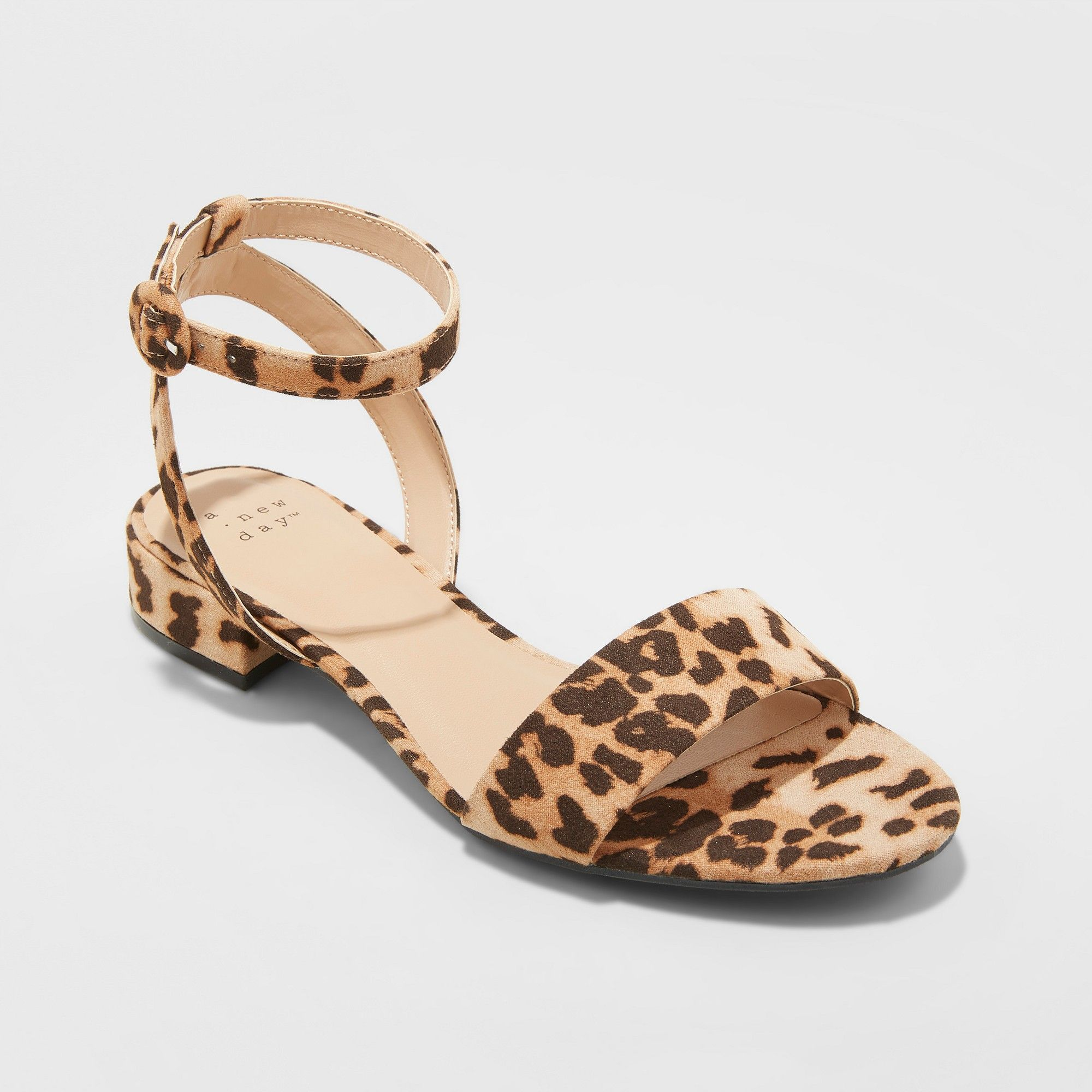 ae0142396e Women's Winona Leopard Ankle Strap Sandals - A New Day Brown 7.5 in ...