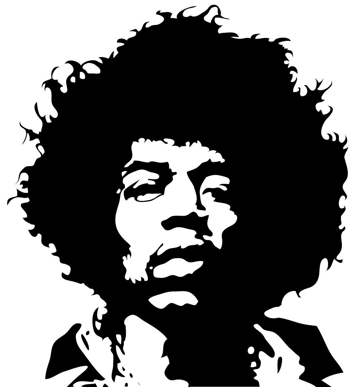 Amazon Com Wall Sticker Decal Jimi Hendrix Silhouette Decoration Glossy Black Vinyl Jimi Hendrix Silhouettes Gatekunst [ 1306 x 1203 Pixel ]