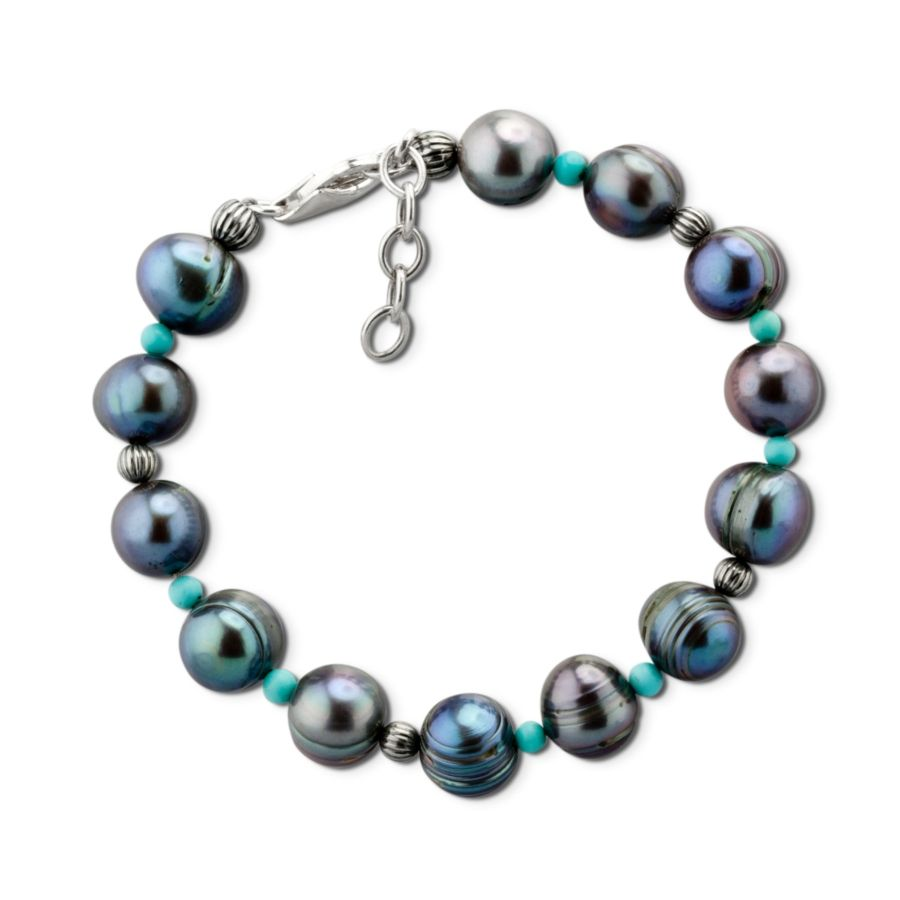 Carolyn Pollack Jewelry | Eclipse Gray Freshwater Pearl and Sleeping Beauty Turquoise Bracelet
