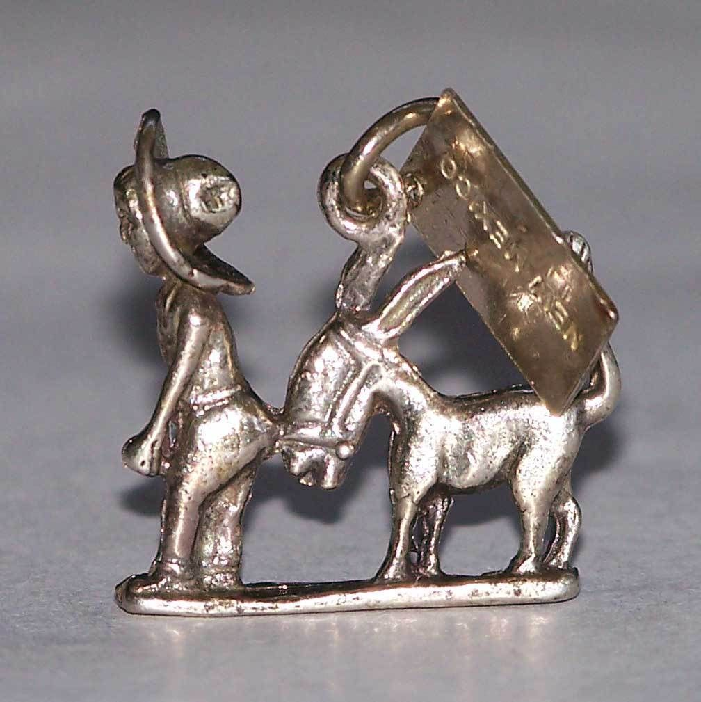 Sterling Silver Bell Trading Company Burro Donkey Sombrero Man New Mexico Charm